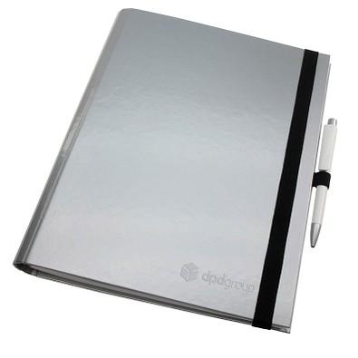 geiger notes Schreibmappe Work:Book, DIN A4, kariert, silber-glänzend