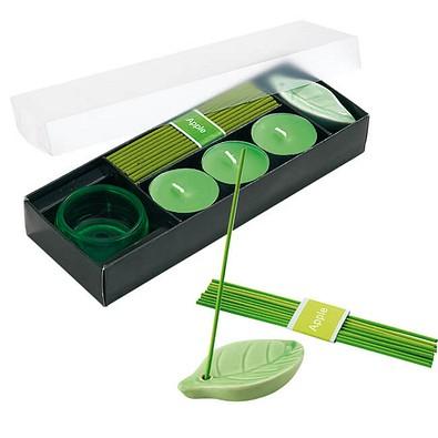Entspannungs-Set Scent mit Räucherstäbchen und Teelichtern, Apfel