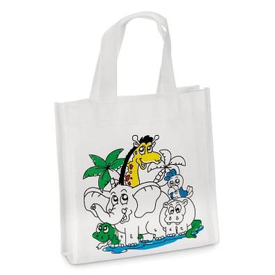 Kinder-Einkaufstasche zum Ausmalen, weiß