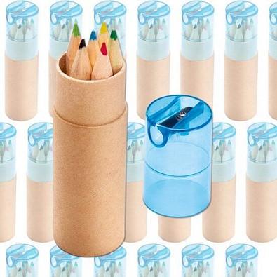 Werbe-Set: 150 Teile Buntstiftebox mit Spitzer, Blau, Inkl. Druck