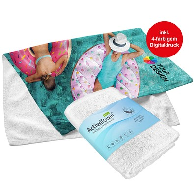 POLYCLEAN Handtuch ActiveTowel Relax, 100 x 50 cm, inkl. Druck, weiß