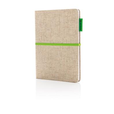 XD COLLECTION Eco Jute Baumwoll-Notizbuch, DIN A5, liniert, hellbraun/grün