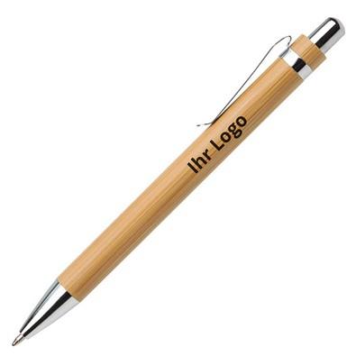 Bambus-Druckkugelschreiber, blaue Mine, braun