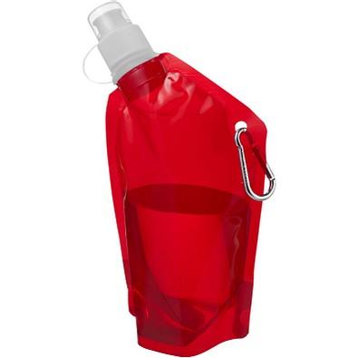 Cabo Mini Wasserbeutel mit Karabiner, 375 ml, transparent rot