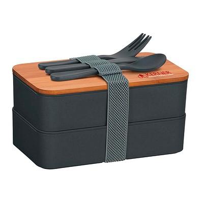 Doppel-Lunchbox ECO L1, grau/holzfarben