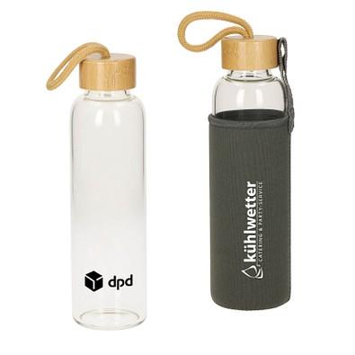 "Glasflasche mit Hülle ""Bamboo"" 0,55 l, transparent"