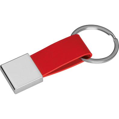 Schlüsselanhänger mit Kunstleder-Bändchen, rot