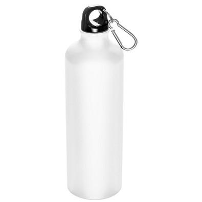 Aluminium-Trinkflasche mit Karabinerhaken, 800 ml, Weiß-Matt