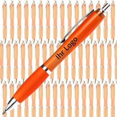 Werbe-Set: 400 Kugelschreiber Rio, inkl. Druck, blaue Mine, orange/transparent
