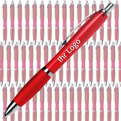 Werbe-Set: 400 Kugelschreiber Rio, inkl. Druck,  rot/transparent
