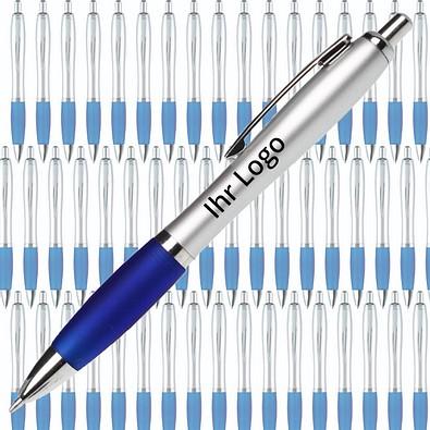 Werbe-Set: 400 Kugelschreiber Rio Satin, inkl. Druck, blaue Mine, silber/blau