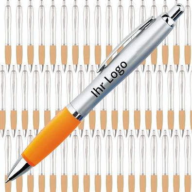 Werbe-Set: 400 Kugelschreiber Rio Satin, inkl. Druck, blaue Mine, silber/orange