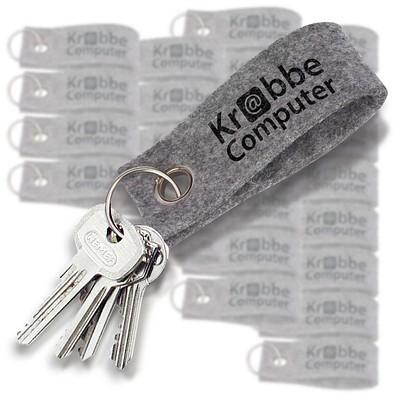 Werbe-Sparset Filz-Schlüsselanhänger 100-tlg., inkl. Druck, grau